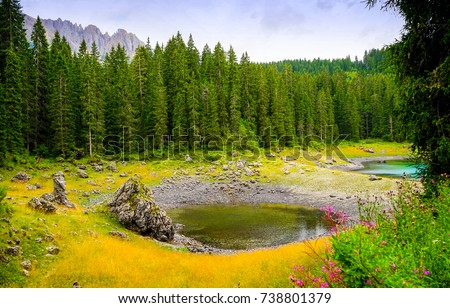 Mountain forest lake panoramic landscape #738801379