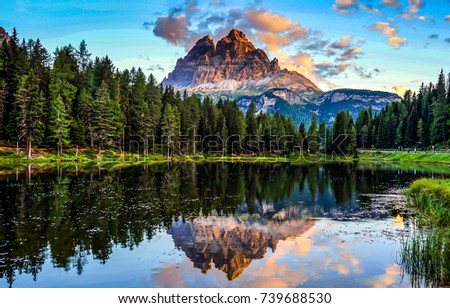 Mountain forest lake reflection landscape #739688530