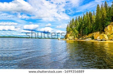 Mountain forest lake water landscape. Mountain lake view. Forest lake in mountains. Lake water view