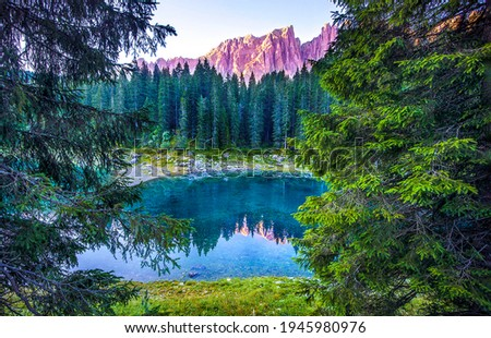 Mountain forest lake water view. Forest lake in mountains. Mountain forest lake landscape