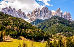 Mountain forest range landscape view. Mountain peak rocks landscape. Mountain landscape. Forest church in mountains