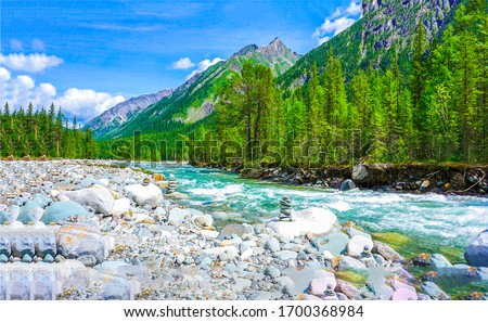 Mountain forest river valley landscape. River wild in mountains. Mountain river wild view