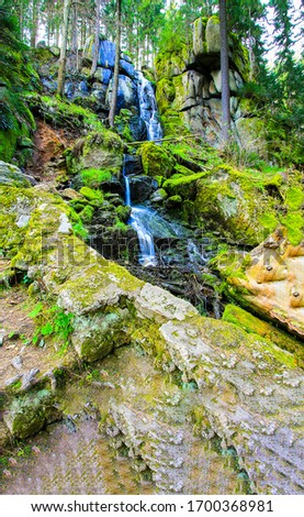 Mountain forest waterfall view. Mountain forest waterfall