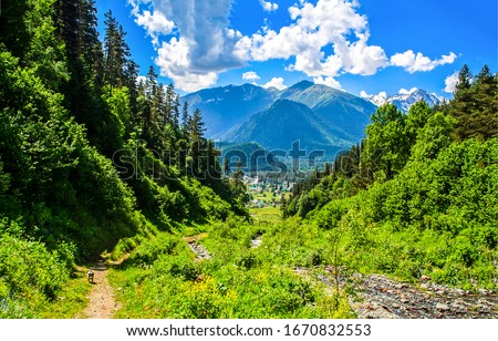 Mountain green hill valey landscape. Green mountain valley view. Mountain valley view