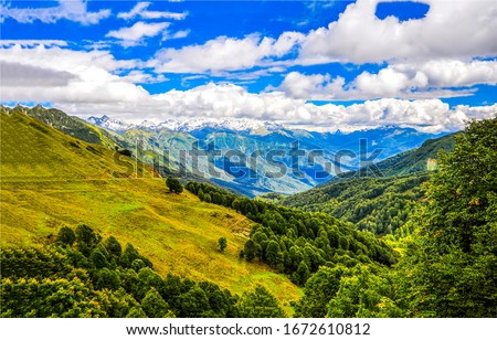Mountain green hill valley landscape. Green mountain hill valley panorama. Mountain green valley landscape. Mountain valley panorama