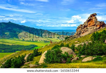 Mountain green hill valley landscape. Green mountain valley panorama. Mountain hills landscape. Mountain