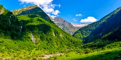 Mountain green hill valley landscape. Green valley in mountains. Mountain valley landscape. Mountain valley panorama. Green mountains