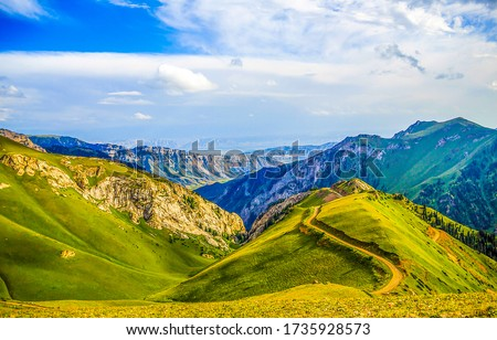 Mountain green hills landscape. Hill valley mountains. Mountain hill valley