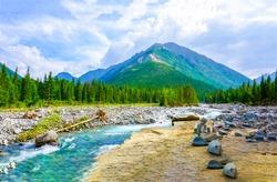 Mountain green river nature landscape