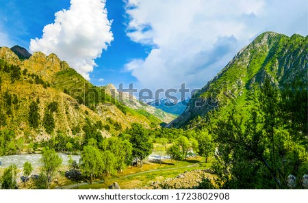 Mountain green valley canyon landscape
