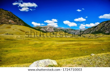 Mountain green valley landscape. Green mountain valley view. Mountain valley landscape. Mountain hill valley landscape