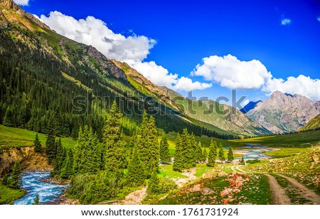 Mountain green valley landscape. River valley n mountains. green mountain valley landscape. Mountain landscape