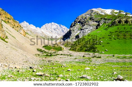 Mountain green valley landscape view
