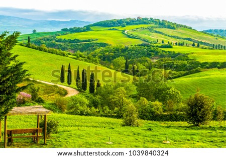 Stock Photo Mountain green valley panoramic landscape
