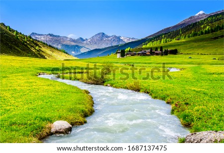 Mountain green valley river creek landscape. River creek in mountain valley. Mountain valley creek. Mountain valley landscape