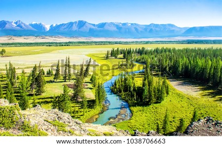 Mountain green valley river panoramic landscape #1038706663