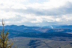Mountain green valley village landscape. Mountain valley town panorama.