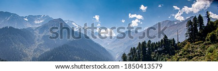 mountain hazy view, panorama view with beautiful blue sky