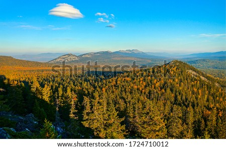 Mountain hill forest in autumn landscape. Forest in mountains