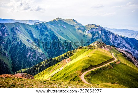 Mountain hill road panoramic landscape #757853977