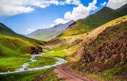 Mountain hill valley creek landscape