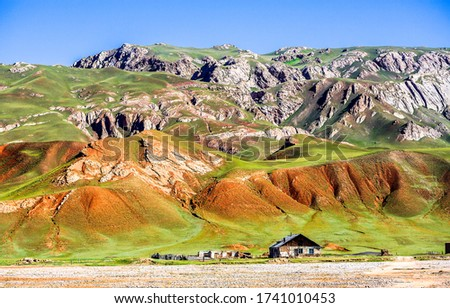 Mountain hill valley farm landscape