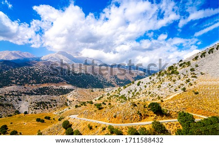 Mountain hill valley landscape. Mountain hill valley. Holl valley road in mountains. Mountain hills landscape