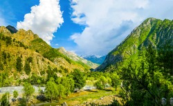 Mountain hill valley landscape view