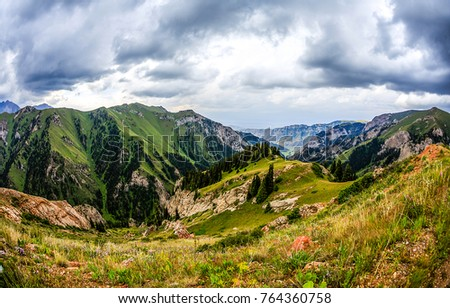 Mountain hills panoramic landscape #764360758