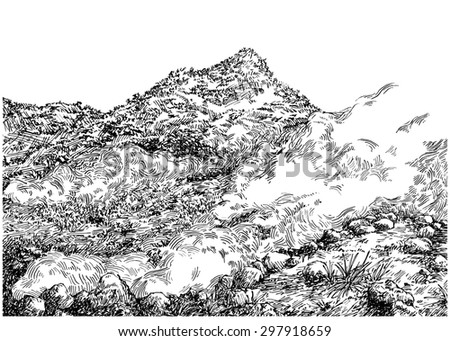 Mountain hot springs. Black and white dashed style sketch, line art, drawing with pen and ink. Trend of book illustration and comic art. Retro vintage picture / etching / engraving on paper.