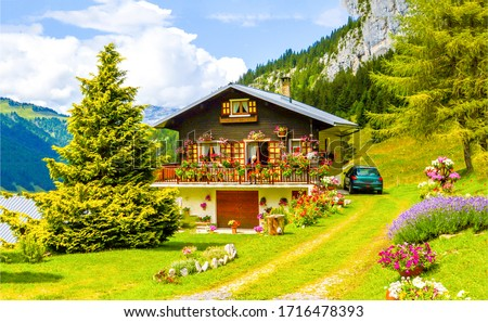 Mountain house garden landscape. Mountain cabin garden. House in mountains. Mountain home scene
