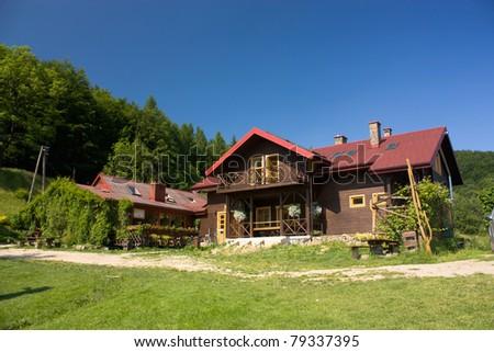 Mountain Hut in Beskids in Poland (Chata Górska Cyrla - 844 m.a.s.l.) - stock photo