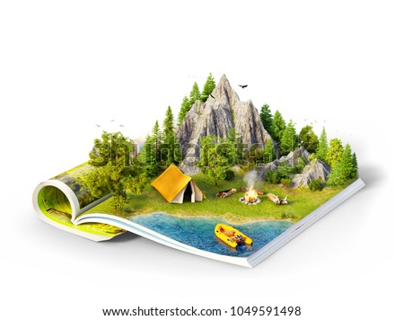 Mountain in forest, green meadow and camp tent near a lake on opened pages of magazine. Unusual 3d illustration isolated on white. Travel and camping concept