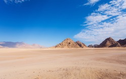 Mountain in the desert and the blue sky