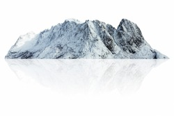 Mountain, island or hill in winter with snow isolated on white with clipping path, for photomontage.