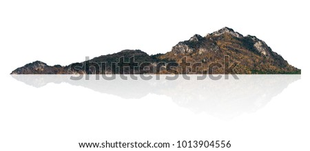 Mountain, island or hills isolated on white with clipping path.