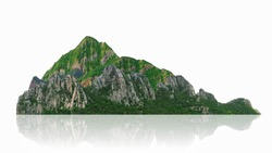 Mountain, island or hills isolated on white with clipping path, for photomontage.