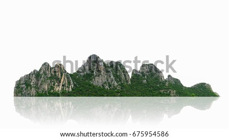 Mountain, island or hills isolated on white with clipping path, for photomontage. #675954586