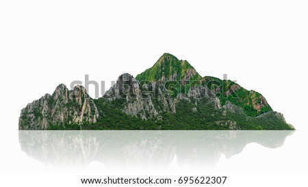 Mountain, island or hills isolated on white with clipping path, for photomontage. #695622307