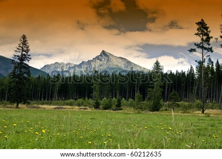 Mountain Krivan with clouds in Hight Tatry