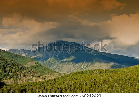 Mountain Krivan with clouds near by Podbanske