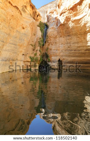 Mountain lake and waterfall in the canyon Ein-Avdat. National park and reserve in Negev desert, Israel
