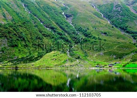 Mountain lake at summer time in Norway - stock photo