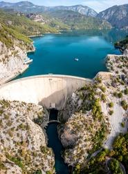 Mountain Lake. Emerald water reservoir behind the dam Oymapinar. Green Canyon, Turkey, Managv