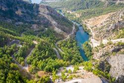 Mountain Lake. Emerald water reservoir behind the dam Oymapinar. Green Canyon, Turkey, Managvat