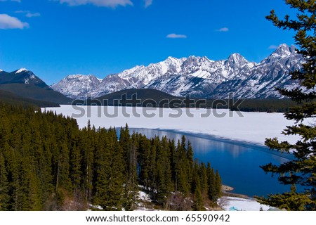 Mountain Lake in Canadian rockies, near Calgary, snow,  ice and water