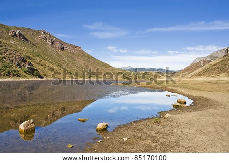 mountain lake in Lago de Babia, Leon, Spain