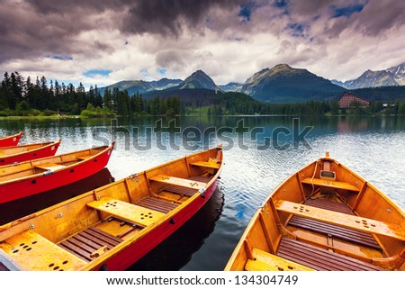 Mountain lake in National Park High Tatra Dramatic overcast sky Strbske pleso Slovakia Europe Beauty world