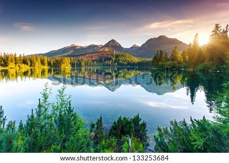 Mountain lake in National Park High Tatra. Strbske pleso, Slovakia, Europe. Beauty world. #133253684