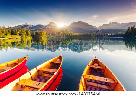 Mountain lake in National Park High Tatra Strbske pleso Slovakia Europe Beauty world